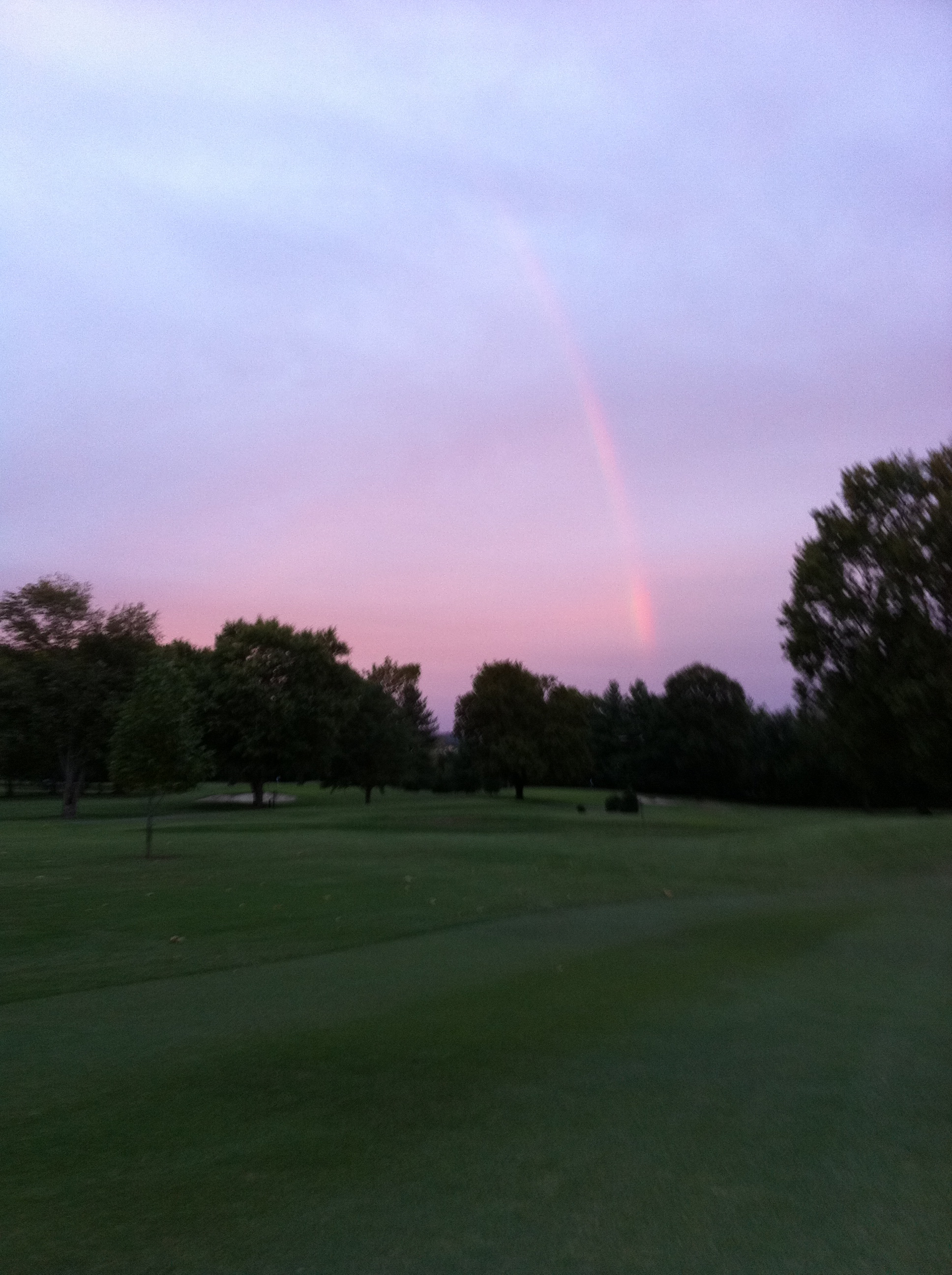 Cold Early Morning Rainbow Over the Course