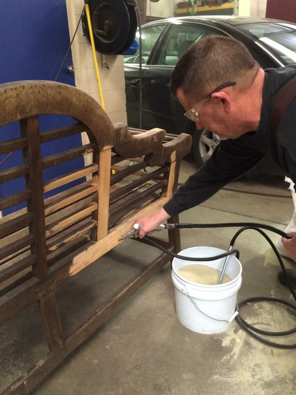 Tom Clark Sand Blasting the Benches
